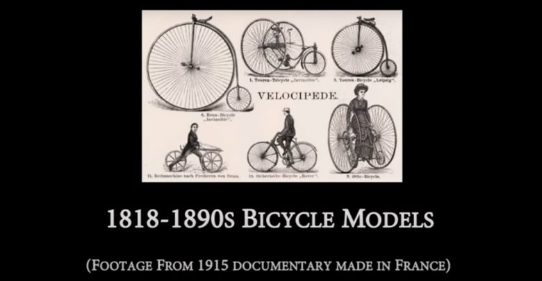 Photo of 1818 to 1890s Bicycle Models (from 1915 documentary)